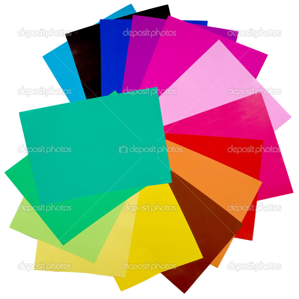 Colorful origami fan pattern made of curved sheets of paper. Isolated with clipping path on background — Stock Photo #10142527