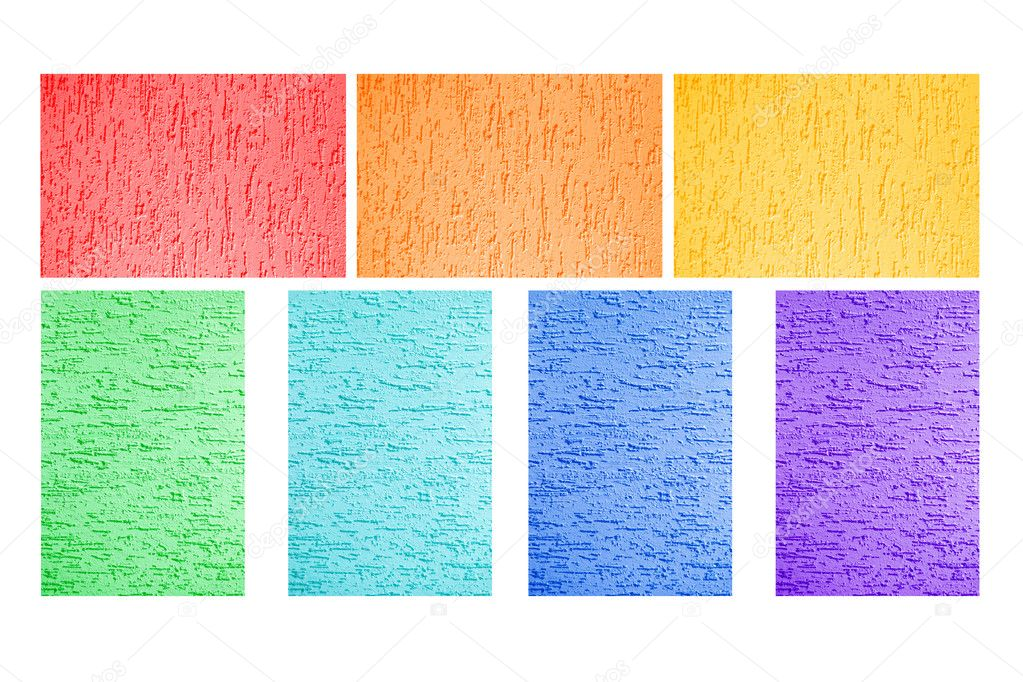Colorful painted walls of all the colors of the rainbow - red, orange, yellow, green, blue, indigo, violet. Background or texture. — Stock Photo #10142640