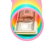 Colorful rainbow spring and dollars — ストック写真