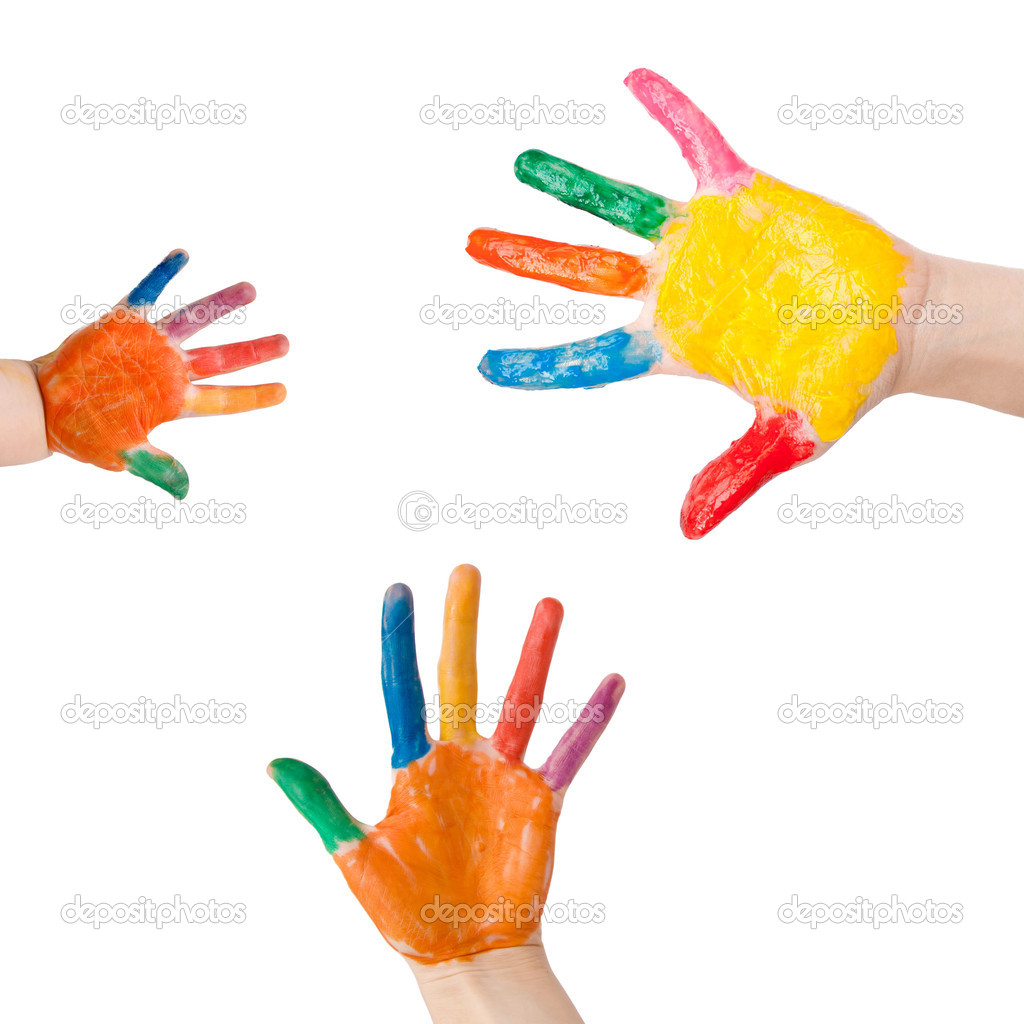 Three colorful hands of the family - mother, father and baby. Small, medium and large hand. Symbol of friendship, unity and harmony as logo. Isolated on white background with clipping path  Stock Photo #10159226