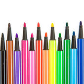 Colored striped markers pens — Stock Photo