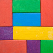 Square shape of wooden toy blocks. — Stock Photo