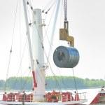 Rolls of steel sheet in the harbor — Stock Photo