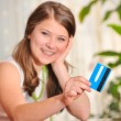 Stock Photo: Teen girl with blank credit card