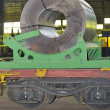 Rolls of steel sheet on Railway - Stock Photo