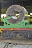 Rolls of steel sheet on Railway — Stockfoto