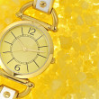 Women's luxury gold wrist watch — Stock Photo