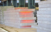 Stack of hot steel — Stock Photo