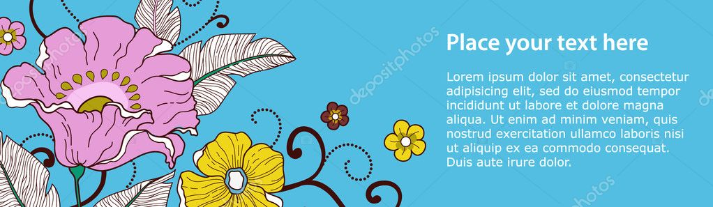 Banner with flowers on a blue background. You can us this banner on your site.This image is a vector illustration and can be scaled to any size without loss of resolution.  — Stock Vector #9884952
