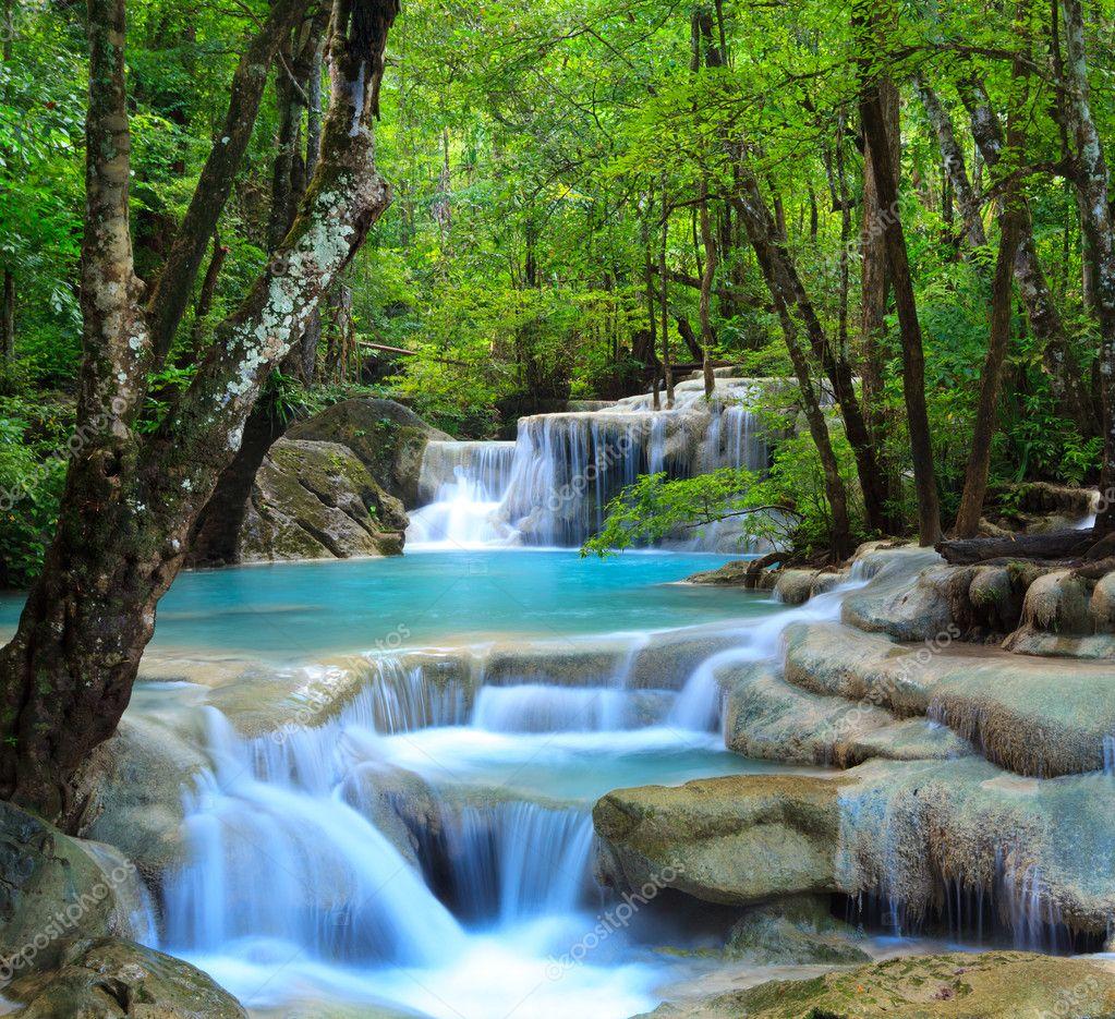 Kanchanaburi Thailand  city pictures gallery : depositphotos 9883684 Erawan waterfall kanchanaburi thailand