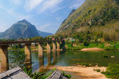 Nong khiaw mega Bridge, Nong Khiaw, Laos — Stock Photo