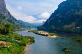 Nong khiaw river, Northern of Laos — Stock Photo