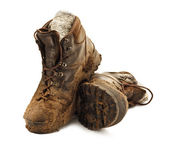Muddy Trekking Boots — Stock Photo