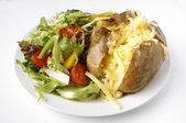 Cheese Jacket Potato with side salad — Stock Photo