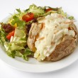 Coleslaw  Jacket Potato with side salad — Stock Photo