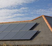 Photovoltaic Solar Panels on a Slate roof — Stock Photo