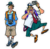 Kreslený turistů, set3 — Stock fotografie