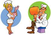 Comic doctors in uniform — Stock Photo