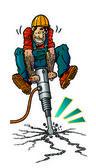 Workman with jackhammer — Stock Photo