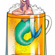 Girl-mermaid in beer mug - Stock Photo