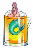 Girl-mermaid in beer mug — Stock Photo