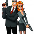 Man and woman with guns — Stock Photo #10117387