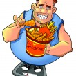 Overweight man with fastfood on weight scale — Stock Photo