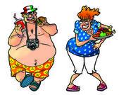 τουρίστες κινουμένων σχεδίων, set1 — Φωτογραφία Αρχείου