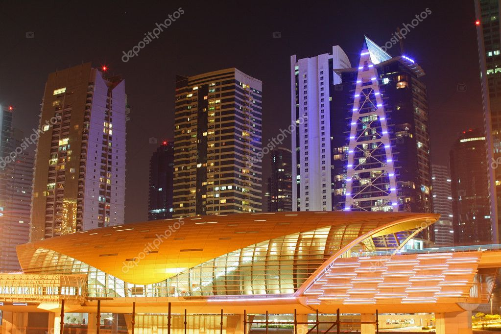 Dubai - New futuristic metro station at night, United Arab Emirates  Stock Photo #10277369
