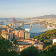 Malaga, Spain – Panoramic view of the city with cruise liners — Stock Photo