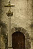 Cross and door — Stock fotografie