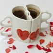 Heart shaped cups of coffee — Stock Photo