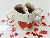 Serce w kształcie filiżanki kawy — Zdjęcie stockowe