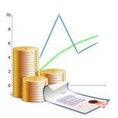 Monedas,, financieros horarios y valores — Vector de stock