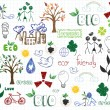 Eco-friendly doodles — Stock Vector