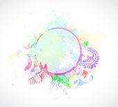 Akvarell blommig ram — Stockvektor