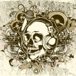 Grunge music background with skull — Stock Vector #10728578