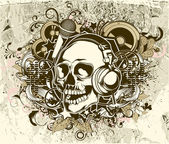Grunge music background with skull — Stock Vector