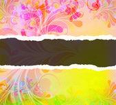 Carton déchiré avec tourbillons colorés — Vecteur