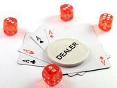 A kind of aces, the dealer and nuts — Stock Photo