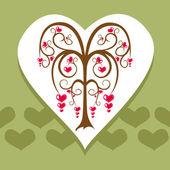 Love tree card — Stock Vector
