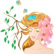 Spring girl - Stock Vector