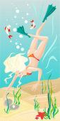 Diving girl — Stockvector