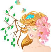 Spring girl — Stockvektor