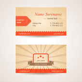 Vector retro business card. Front and back side — Stock Vector