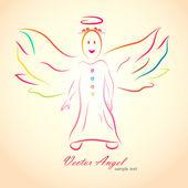 Vector angel with nimbus — Stock Vector