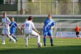 Girl soccer game — Stock Photo
