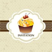 Vintage card with cupcake 06 — Stock Vector