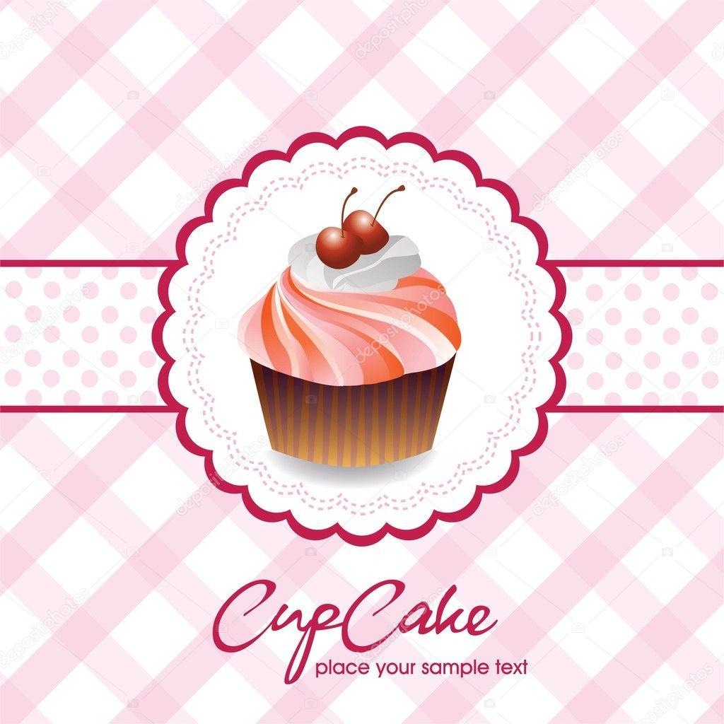 Vintage card with cupcake 05 stock vector - Plantillas para reposteria ...