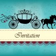 Invitation card with carriage & horse ver. 1 — ストックベクタ